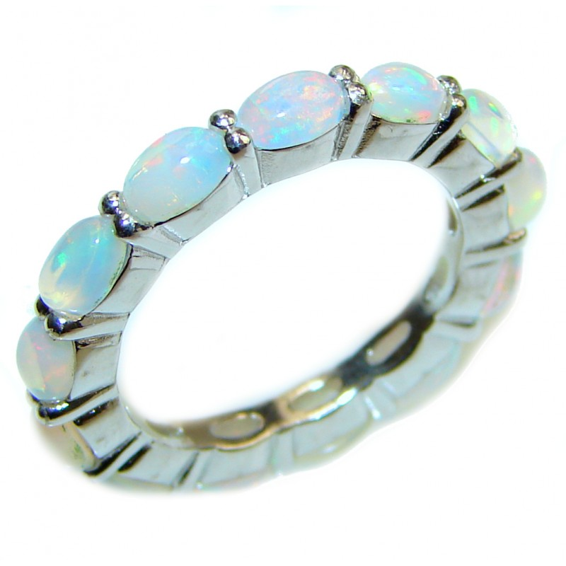 Dazzling natural Ethiopian Opal .925 Sterling Silver handcrafted ring size 7 1/4