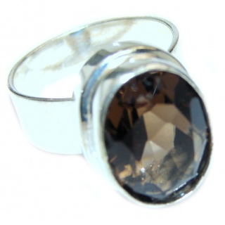 Authentic Smoky Quartz .925 Sterling Silver handcrafted ring s. 9