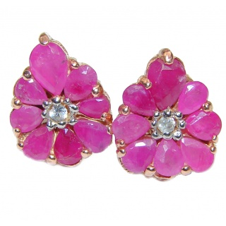 Vintage Style Authentic Ruby .925 Sterling Silver handmade earrings