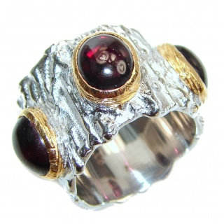Genuine 27 ct Garnet 18ct Gold Rhodium over .925 Sterling Silver handmade Cocktail Ring s. 6
