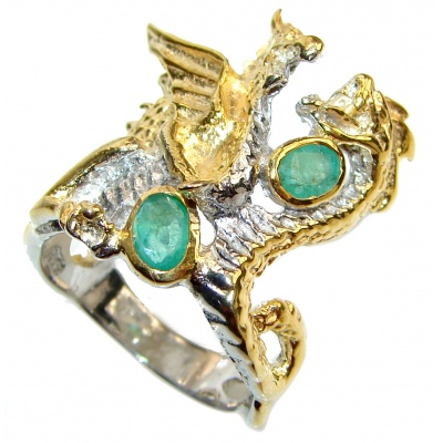 Two dragong Emerald 14K Gold over .925 Sterling Silver Ring s. 8