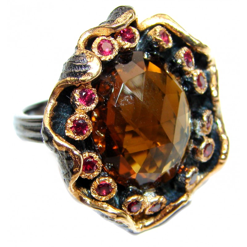 Very Bold Champagne Smoky Topaz 14K Gold over .925 Sterling Silver Ring size 6