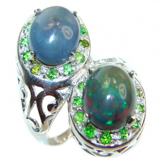 Fancy Black Opal Chrome diopside .925 Sterling Silver handcrafted ring size 4 3/4