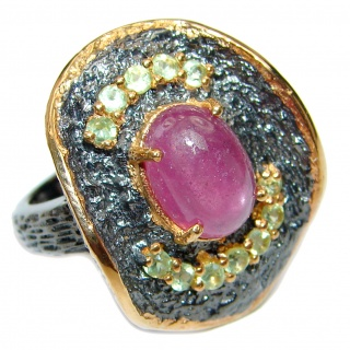 Genuine Kashmir Ruby black rhodium over .925 Sterling Silver handcrafted Statement Ring size 6