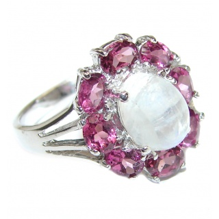 Angelica Rainbow Moonstone Garnet .925 Sterling Silver handmade Ring size 7