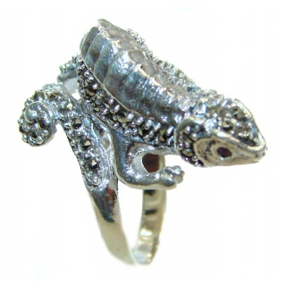 Lizards Natural Marcasite Ruby .925 Statement Sterling Silver ring size 8