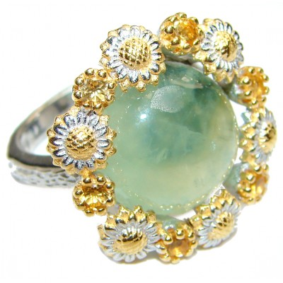 Natural Moss Prehnite 14K Gold over .925 Sterling Silver handmade ring s. 8 1/2