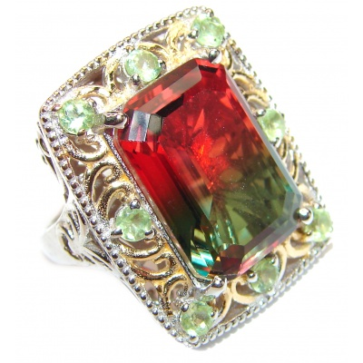 HUGE Emerald cut Watermelon Tourmaline 18k Gold over .925 Sterling Silver handcrafted Ring s. 7