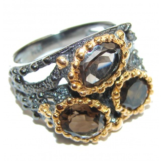 Bold Champagne Smoky Topaz 14K Gold over .925 Sterling Silver Ring size 7 1/2