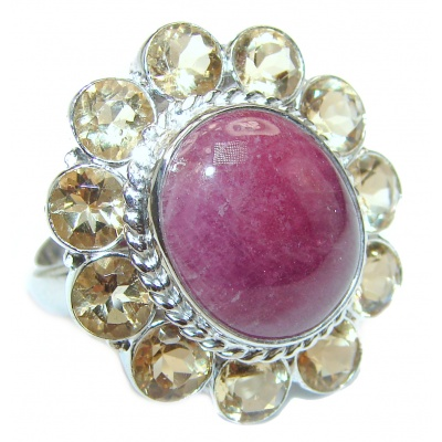 Large Genuine Kashmir Ruby .925 Sterling Silver handcrafted Statement Ring size 7