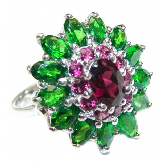 Fancy Garnet Chrome Diopside .925 Sterling Silver handcrafted ring size 7 3/4