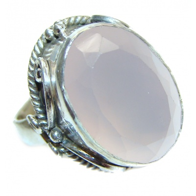 Authentic Rose Quartz .925 Sterling Silver handcrafted ring s. 6
