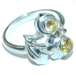 Vintage Style Natural Citrine .925 Sterling Silver handcrafted Ring s. 8 1/2