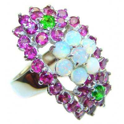 Fancy Ethiopian Opal Garnet .925 Sterling Silver handcrafted ring size 9