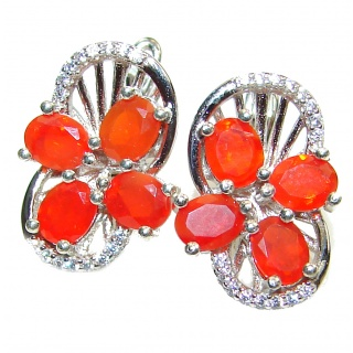 Dazzling natural Mexican Precious Fire Opal .925 handcrafted stud earrings