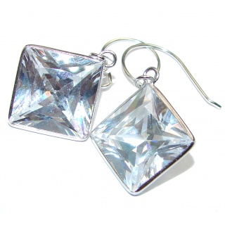 Rare Perception White Topaz .925 Sterling Silver handcrafted earrings