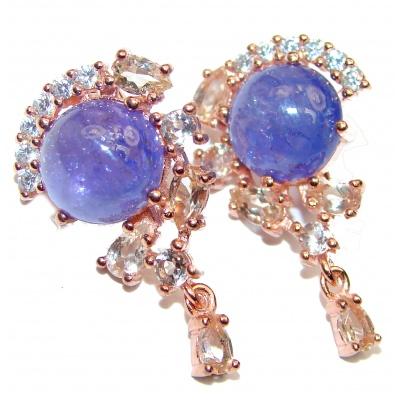 Perfect genuine Tanzanite & White Topaz .925 Sterling Silver handmade earrings