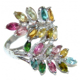 Natural Watermelon Tourmaline .925 Sterling Silver Statement ring size 7 3/4