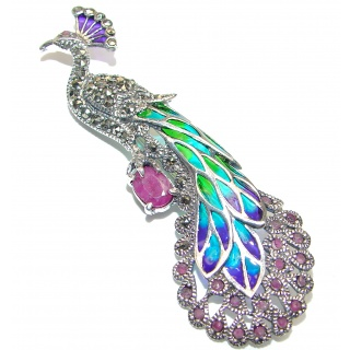 Incredible Pickok Marcasite Ruby 925 Sterling Silver Pendant Brooch