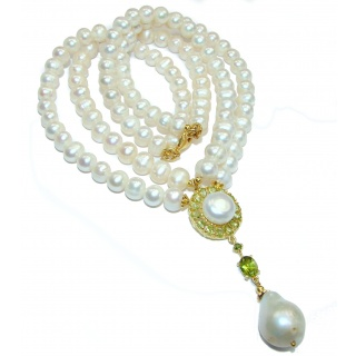 Tsarist heirloom Pearl & Natural Peridot 14K Gold over .925 Sterling Silver handmade Necklace