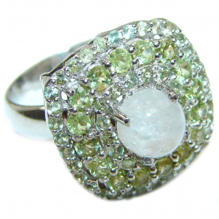 Fantastic Moonstone & Peridot .925 Sterling Silver handmade Ring size 8