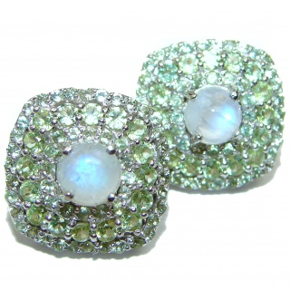 Fabulous Rainbow Moonstone & Peridot Rhodium over .925 Sterling Silver handcrafted stud earrings