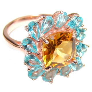 Coktail Beauty Spectacular quality Authentic Citrine .925 Sterling Silver handmade Ring size 6