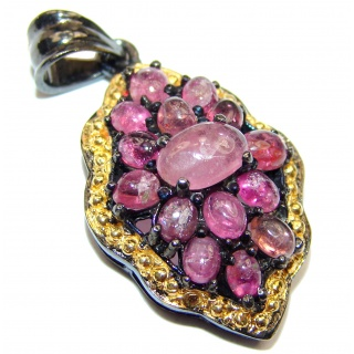 Authentic Kashmir Ruby Tourmaline black rhoium over .925 Sterling Silver Pendant