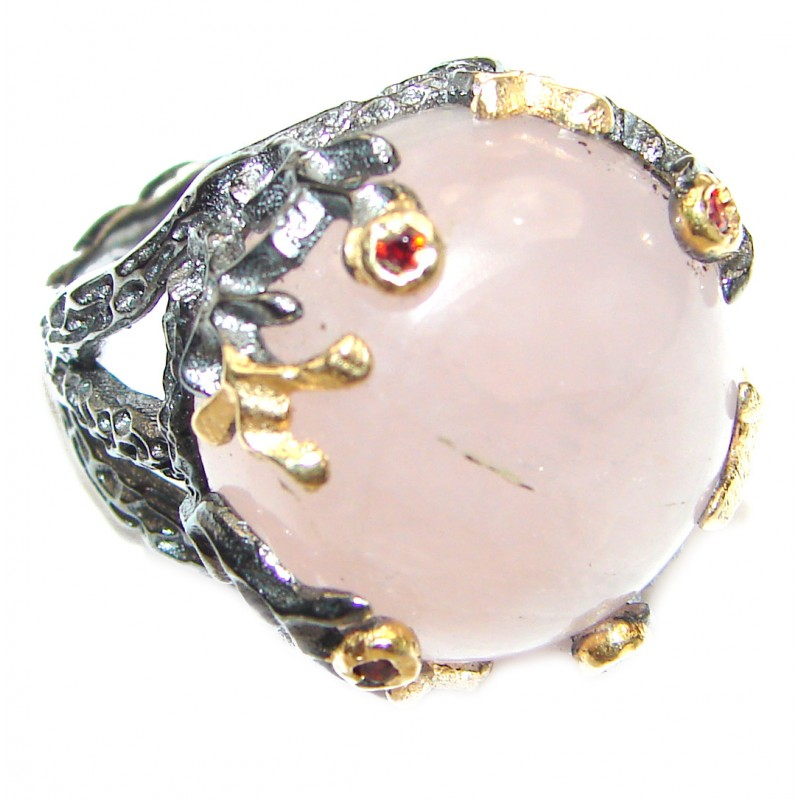 Rose Quartz Gold over .925 Sterling Silver brilliantly handcrafted ring s. 6