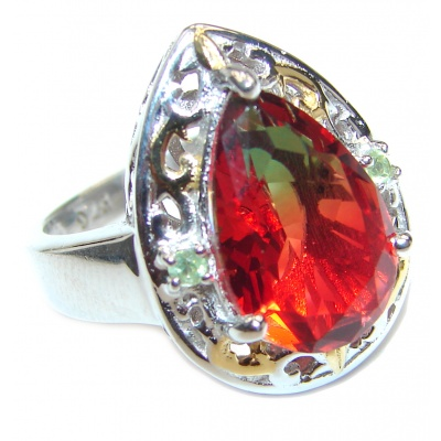 HUGE pear cut Pink Tourmaline 18K Gold over .925 Sterling Silver handcrafted Ring s. 7 1/2