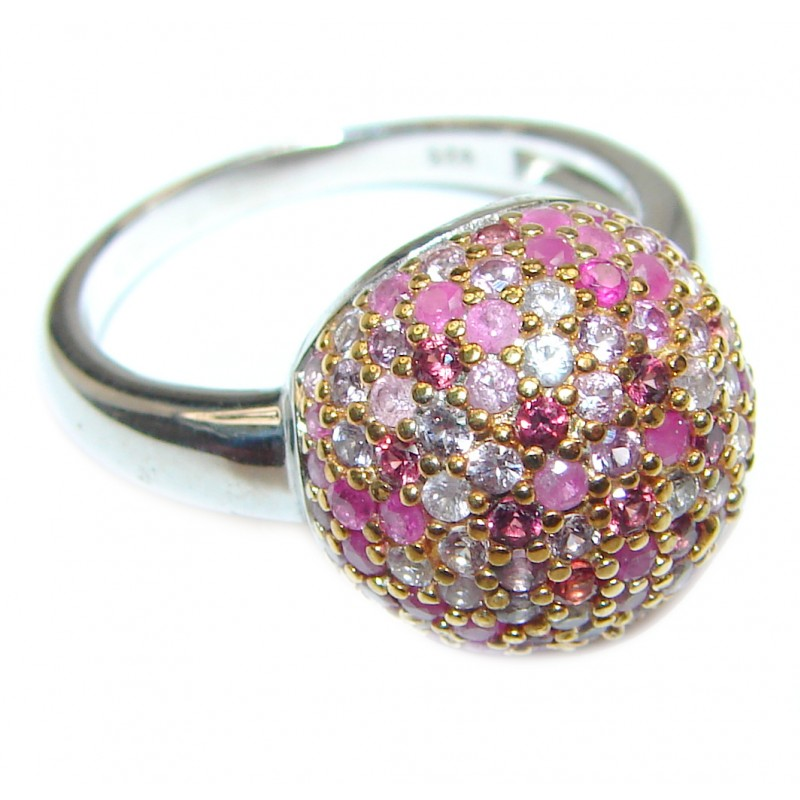 Summer Meadow Genuine Ruby .925 Sterling Silver handcrafted Statement Ring size 8