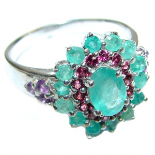 Posh Genuine Emerald .925 Sterling Silver handcrafted Statement Ring size 8