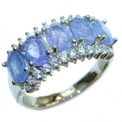 Genuine Kyanite .925 Sterling Silver handcrafted Statement Ring size 7