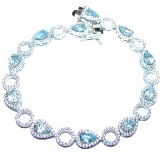 Authentic Blue Topaz & Diamonds .925 Sterling Silver handcrafted Bracelet