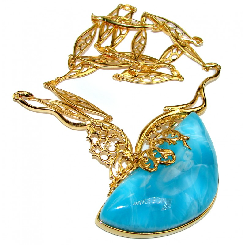 Great Masterpiece 65.9 grams genuine AAAAA QUALITY Larimar 24K Gold over .925 Sterling Silver handmade necklace