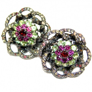 Fabulous multicolor Sapphire Peridot Rhodium over .925 Sterling Silver handcrafted stud earrings