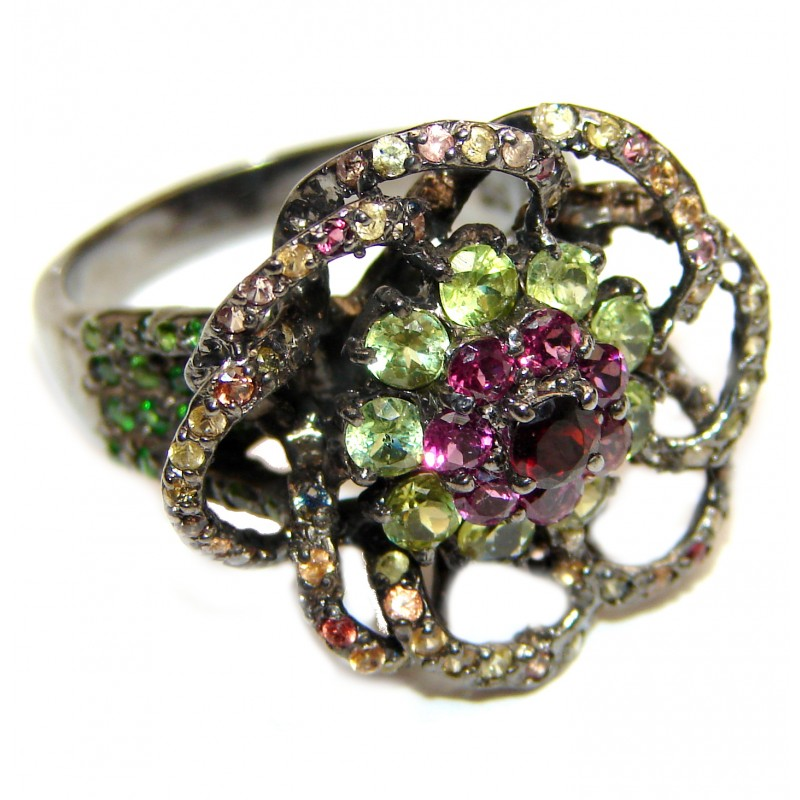 Fancy Sapphire Peridot .925 Sterling Silver handcrafted ring size 8