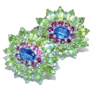 Floral Design Kyanite Garnet Peridot .925 Sterling Silver handcrafted earrings