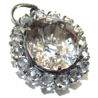 Antique Style Champagne Topaz black rhodium over .925 Sterling Silver handcradfted Pendant