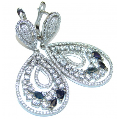 Timeless Beauty Sapphire .925 Sterling Silver handmade earrings