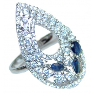 Fancy Sapphire .925 Sterling Silver handcrafted ring size 8 3/4