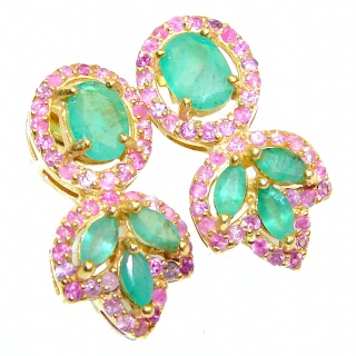 Spectacular Authentic Colombian Emerald Ruby .925 Sterling Silver handmade earrings
