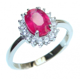 Vintage Beauty genuine Ruby .925 Sterling Silver Statement handcrafted ring; s. 7 3/4
