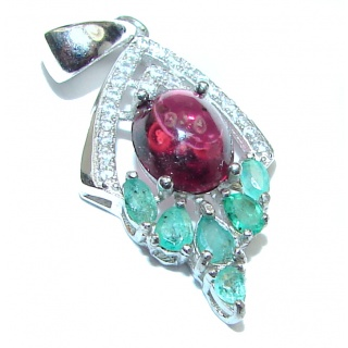 Posh Authentic Garnet Emerald .925 Sterling Silver Pendant
