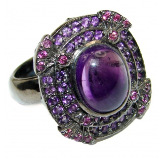 Victorian Style genuine Amethyst black rhodium over .925 Sterling Silver handcrafted Ring size 7 3/4
