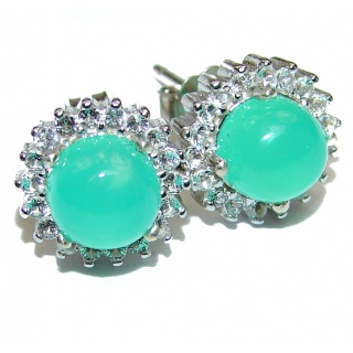 Authentic Colombian Emerald .925 Sterling Silver handmade earrings