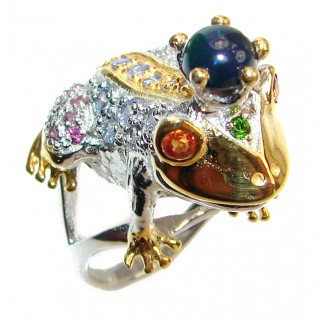 Large Frog Genuine Black Opal Sapphire .925 Sterling Silver handcrafted Statement Ring size 8