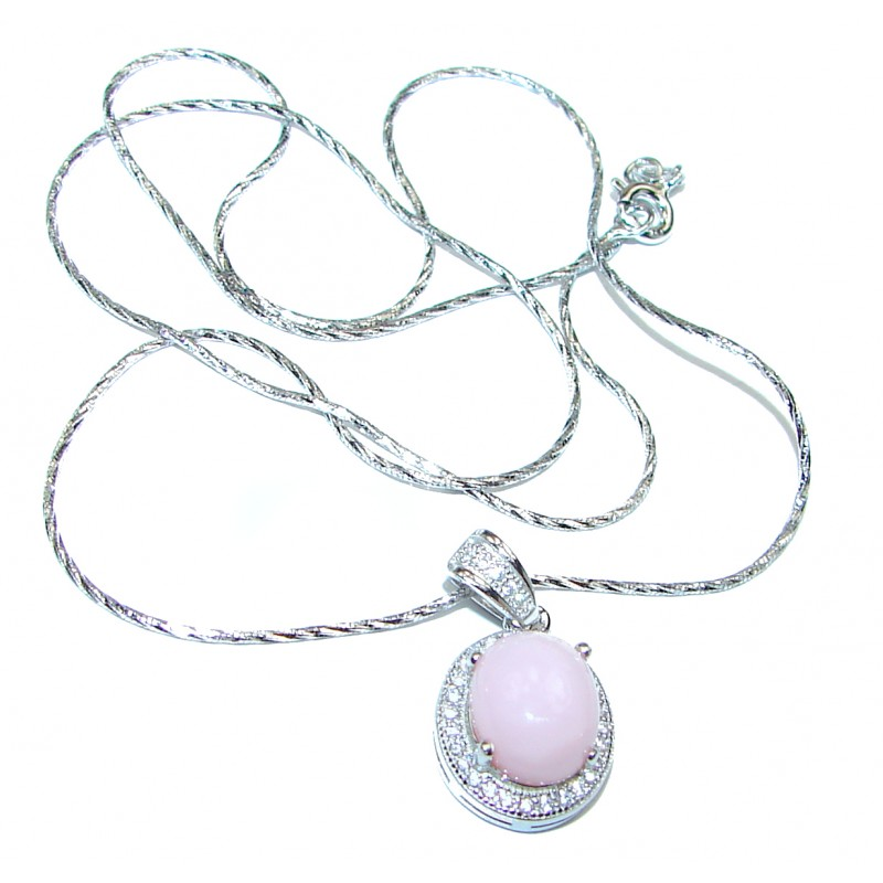 Awesome Natural Pink Opal .925 Silver Enamel Bee Necklace