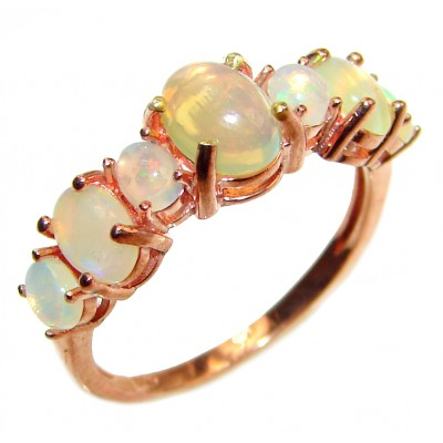 Dazzling natural Ethiopian Opal Rose Gold over .925 Sterling Silver handcrafted ring size 8 1/4
