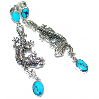 Lizards Sleeping Beauty Turquoise .925 Sterling Silver handmade earrings